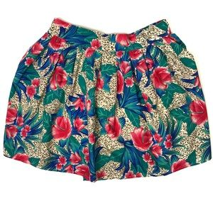 Venus Hawaiian Flower Print Round Mini Skirt